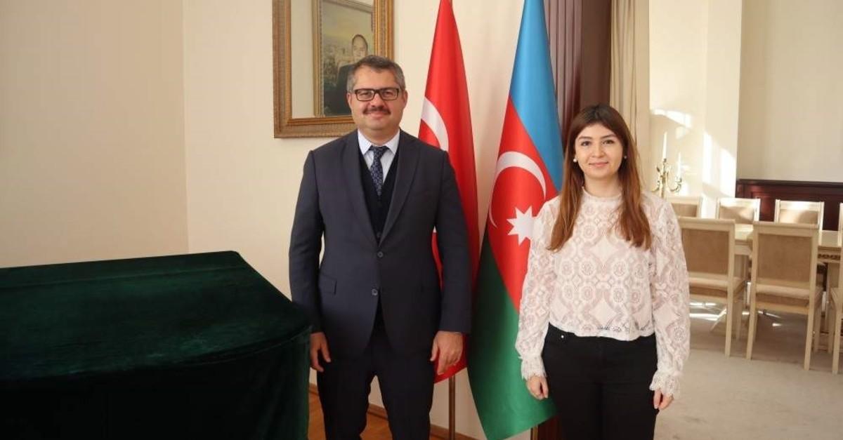 Azerbaijan's Ambassador to Turkey Khazar Ibrahim and Daily Sabah's Dilara Aslan.