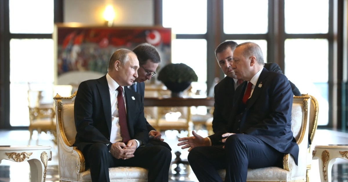 President Erdou011fan and his Russian counterpart President Putin during a one-to-one meeting at the Presidential Complex, in the capital Ankara, April 3, 2018.