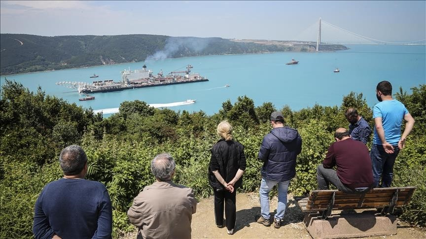 ,Pioneering Spirit, a pipelayer and construction vessel passes through Bosphorus on its way to Anapa Port of Russia where it will work on the TurkStream offshore gas pipeline installation, in Istanbul, Turkey on May 31, 2017. Anadolu Agency Photo