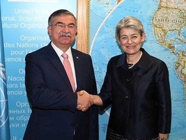 Turkish Education Minister u0130smet Yu0131lmaz with UNESCO Director General Irina Bokova in Paris, France (AA Photo)