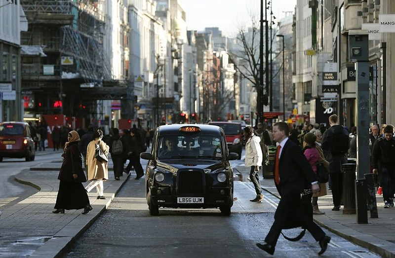 A taxi travels along Oxford Street during a bus strike in London January 13, 2015 (Reuters File Photo)