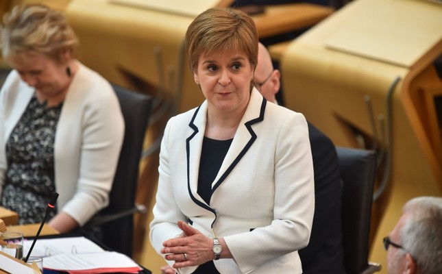 Scotland's First Minister Nicola Sturgeon makes a statement to the Scottish Parliament on Brexit and a second independence referendum, at Holyrood, central Edinburgh on April 24, 2019. (AFP Photo)