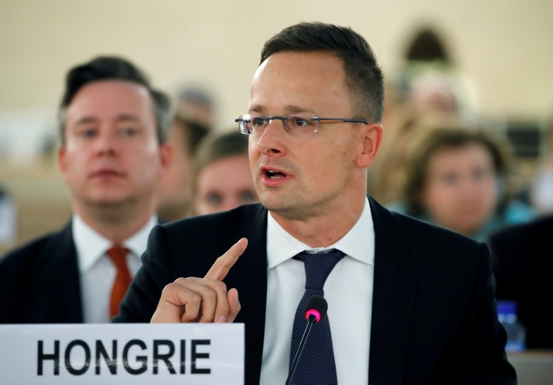 Hungarian Foreign Minister Peter Szijjarto addresses the Human Rights Council at the United Nations in Geneva, Switzerland September 19, 2018. (REUTERS Photo)