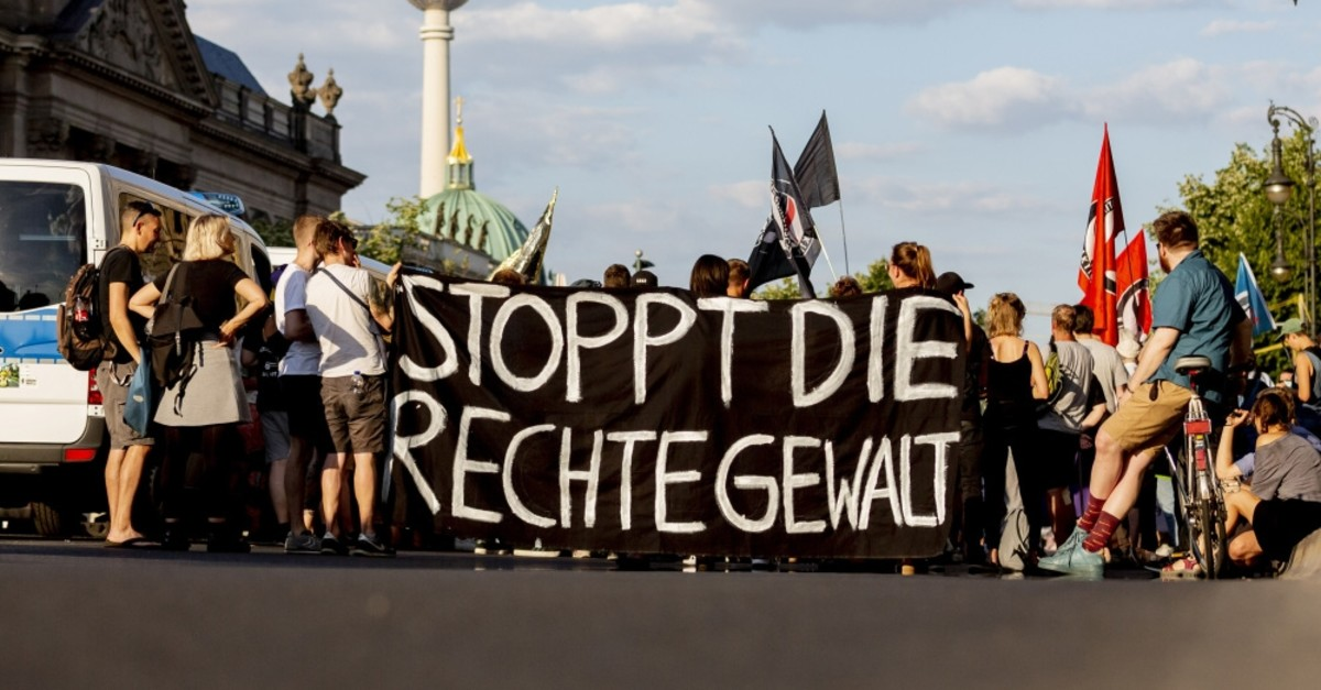 People attending a protest rally against far-right violence, Berlin, June 18, 2019.