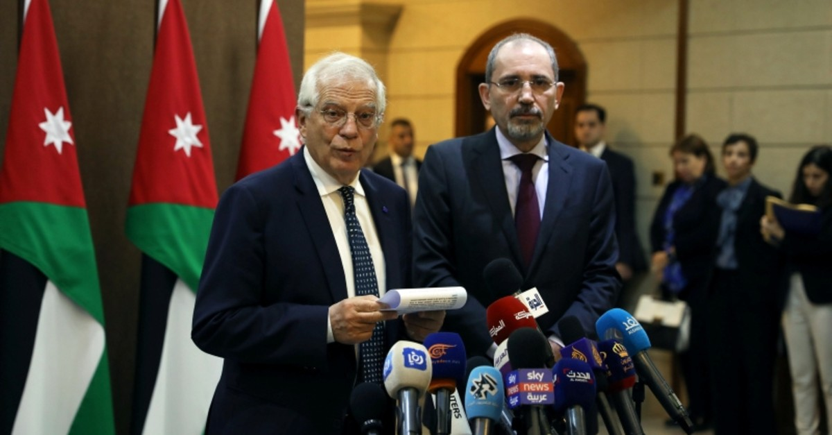 Jordanian Foreign Minister Ayman al Safadi and High Representative of the EU for Foreign Affairs and Security Policy and Vice-President of European Commission Josep Borrell speak to the media after their meeting in Amman, Jordan, February 2, 2020.