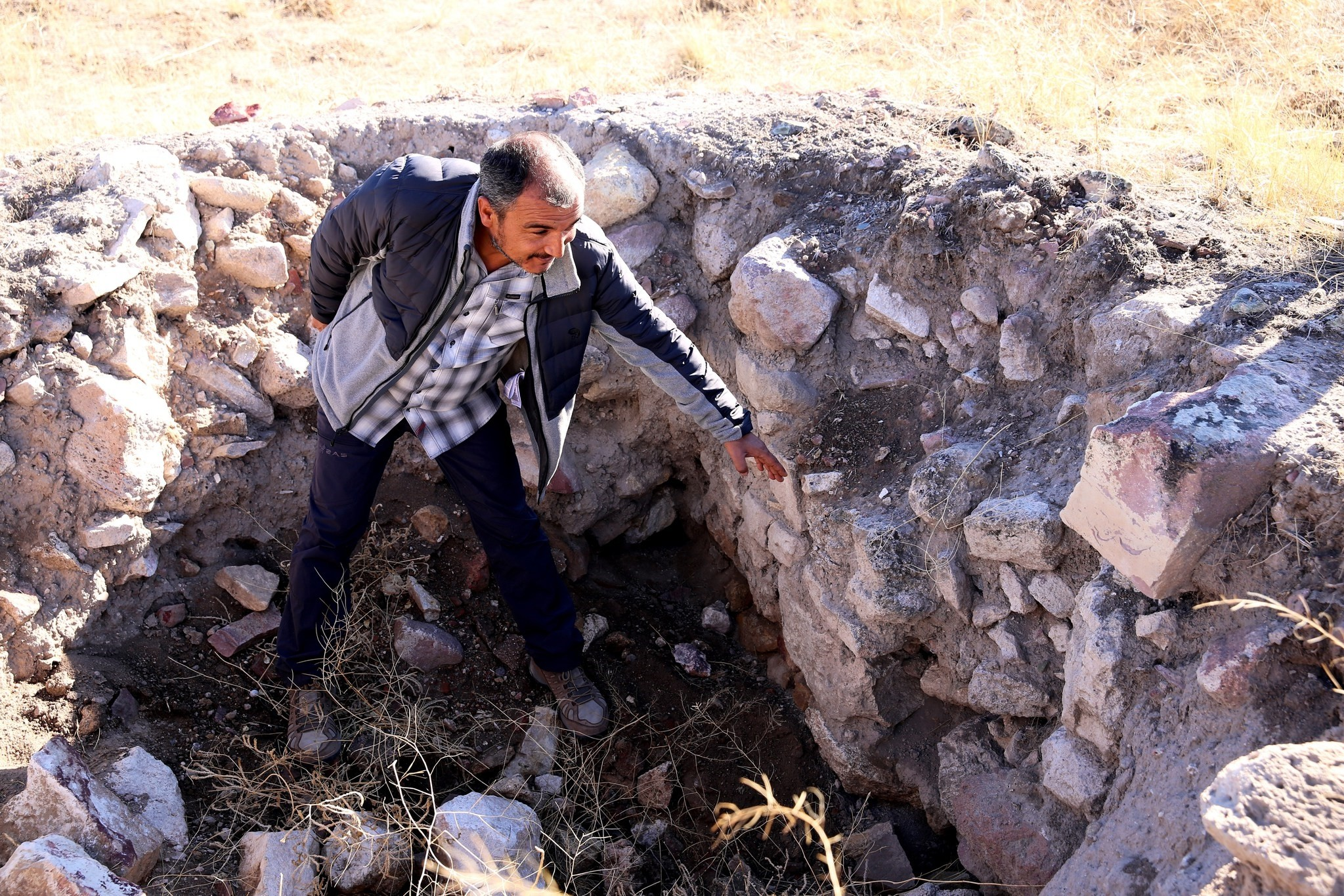 In Turkey's Cappadocia region, Nevu015fehir province, an approximately 5,000-year-old fortress dating to the Early Bronze Age was found by archaeologists. (AA Photo)