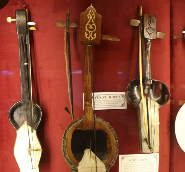 The museum displays 216 musical instruments including items such as the Kazakh qobuz and Kyrgyz kyl kiyak.