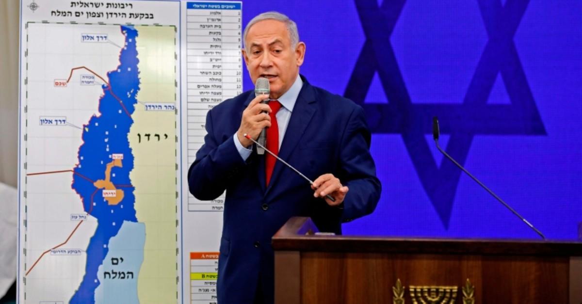 Israeli Prime Minister Benjamin Netanyahu explains his plan to annex Palestinian territories in JordanValley in Ramat Gan, near the Israeli coastal city of Tel Aviv, on September 10, 2019. (AFP Photo)