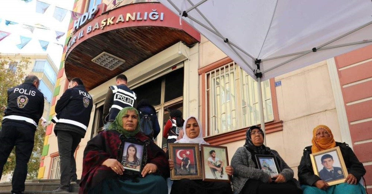 Kurdish mothers whose children abducted by PKK terrorist group have been continuing their sit-in protest for 73 days in front of HDP headquarters in Diyarbak?r, Nov. 12, 2019.