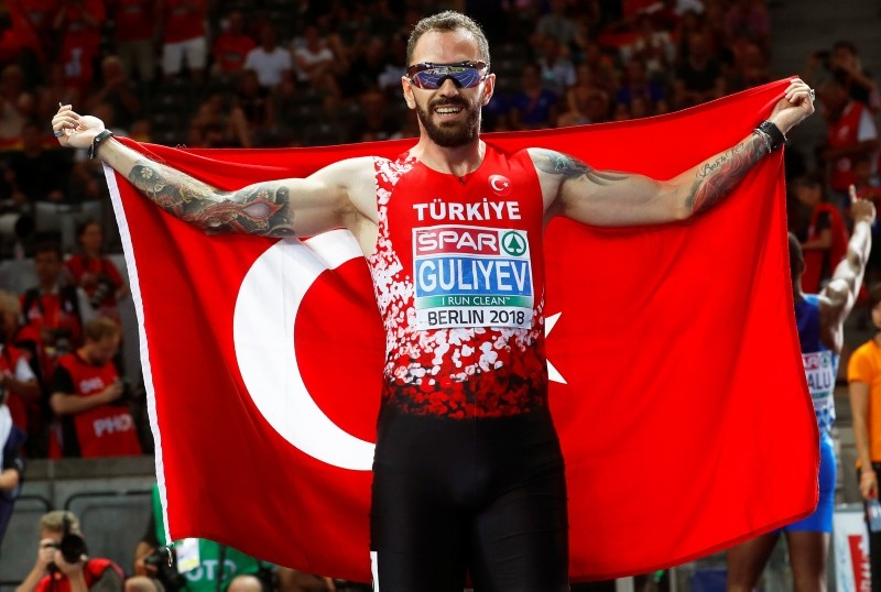 Ramil Guliyev of Turkey celebrates after winning the men's 200m final at the Athletics 2018 European Championships in Berlin, Germany, 09 August 2018. (EPA Photo)
