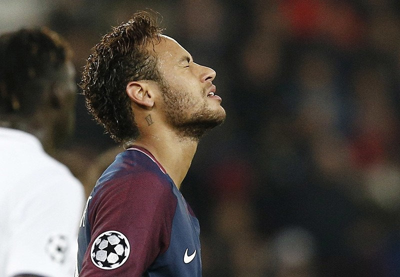 PSG's Neymar reacts after missing a chance on goal during a Champions League Group B soccer match between Paris Saint-Germain and Anderlecht at Parc des Princes stadium in Paris, France, Tuesday, Oct. 31, 2017. (AP Photo)