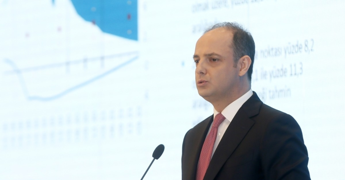 Central Bank of Republic of Turkey (CBRT) Governor Murat u00c7etinkaya speaks during the release of the quarterly inflation report, Istanbul, April 30, 2019.