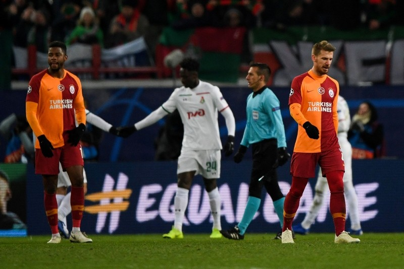 Galatasaray's players react after the UEFA Champions League group D football match between FC Lokomotiv Moscow and Galatasaray at the RZD Arena in Moscow on October 28, 2018. (AFP Photo)