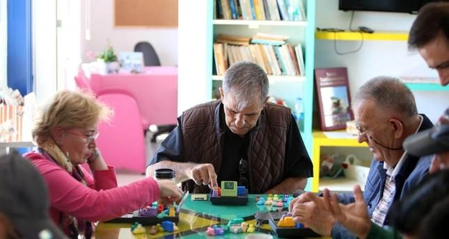 People playing memory games at a center for the senior citizens in city of Antalya.