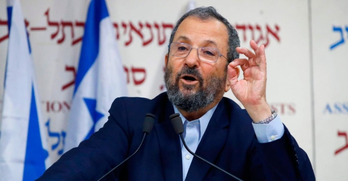 In this file photo taken on June 26, 2019, former Israeli prime minister Ehud Barak gives a press conference at Beit Sokolov in Tel Aviv on June 26, 2019 (AFP Photo)