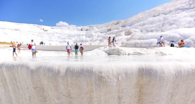 Tourists flocked to Pamukkale during the eid holiday last week.