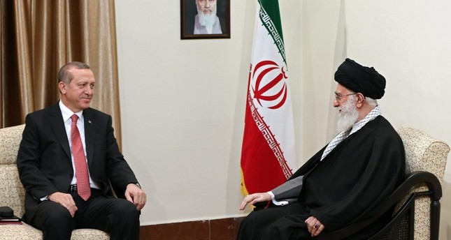 Turkish President Recep Tayyip Erdoğan meets with Iran's Supreme Leader Ayatollah Ali Khamenei in Tehran, Iran, Tuesday, April 7, 2015. (DHA Photo)