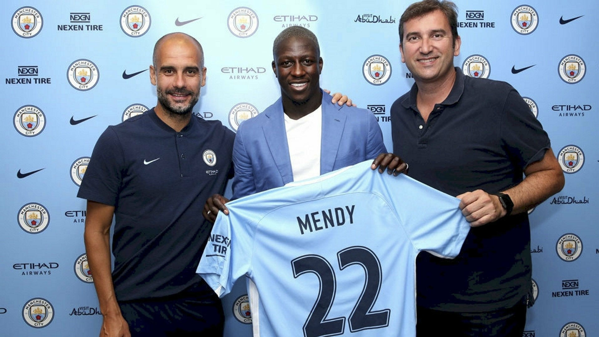 Left-back Benjamin Mendy (C) was tranferred for nearly 50 million pounds