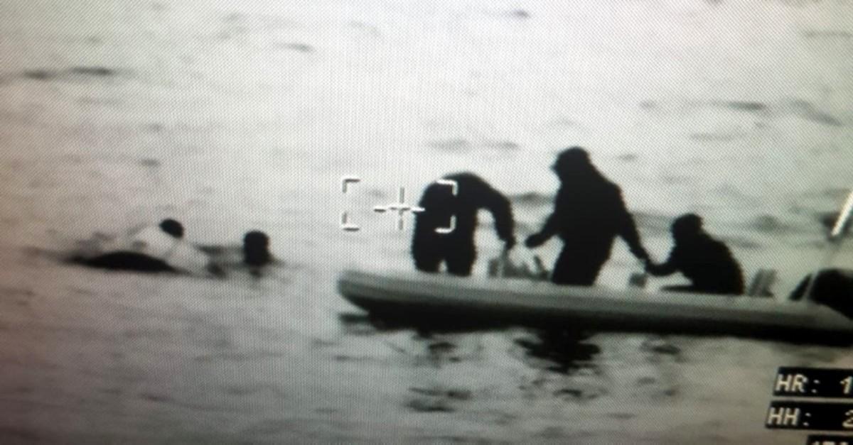 Turkish coastguard footage. (IHA Photo)