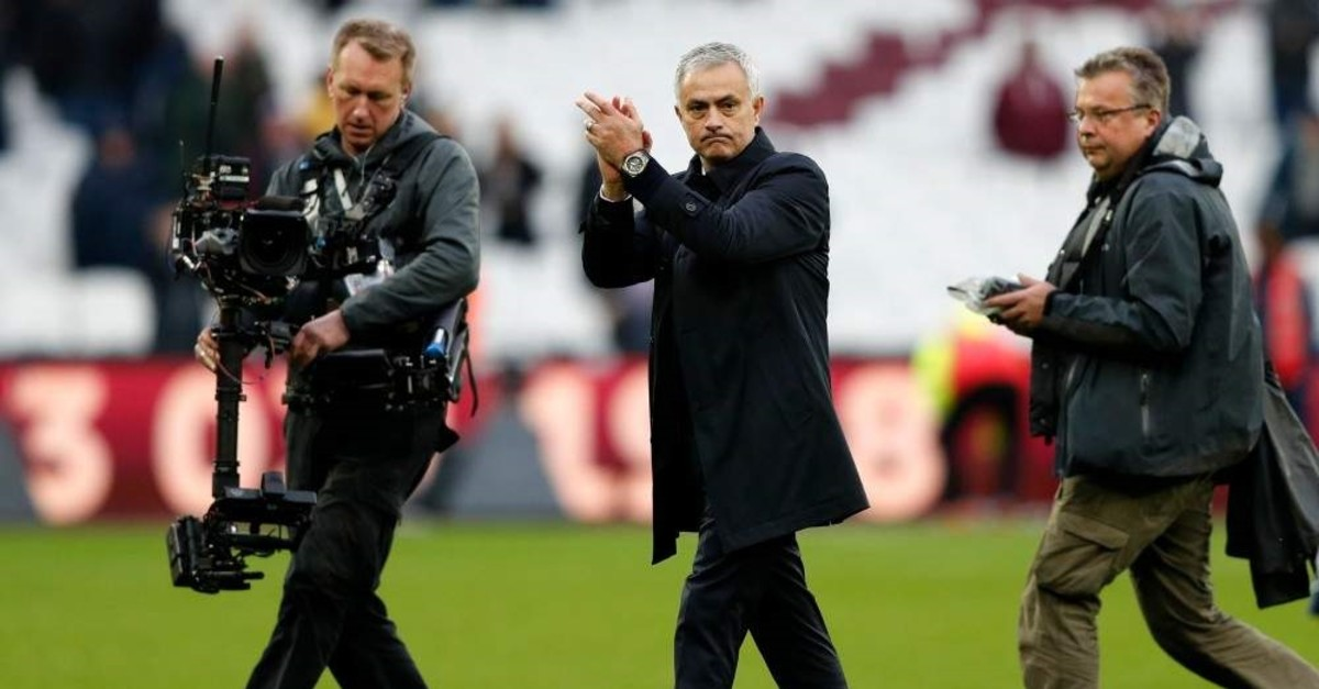 Tottenham Hotspur's Portuguese head coach Jose Mourinho reacts at the final whistle during the English Premier League football match against West Ham United at The London Stadium, on November 23, 2019. (AFP Photo)