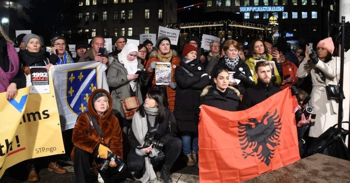 The awarding of Peter Handke, a supporter of the Bosnian genocide, by the Nobel committee has been protested by hundreds of people, Stockholm, Dec. 10, 2019.