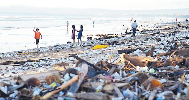Popular tourist destination Kuta beach in Bali, Indonesia, is regularly covered in waste, most of it plastic that washes ashore during the rainy season.