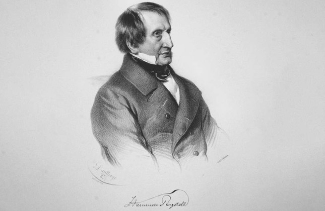 A lithograph by Austrian painter Adolf Dauthage depicts Joseph von Hammer-Purgstall, 1852.