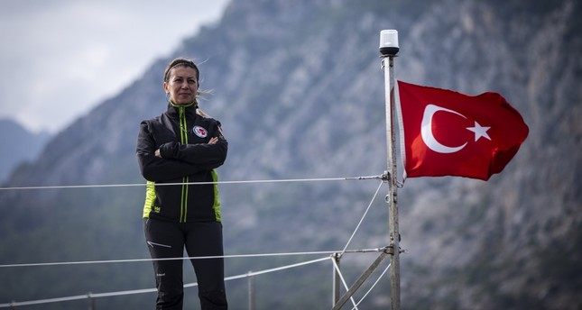 Assoc. Prof. Burcu Özsoy, the leader of the Turkish Antarctic Scientific Expedition, on a boat during the training.