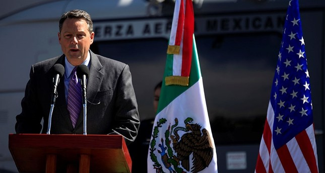 U.S. Deputy Chief of Mission John Feeley in Mexico speaks during a ceremony at a hangar of the Secretariat of National Defense in Mexico City, Mexico November 8, 2010 (Reuters File Photo)