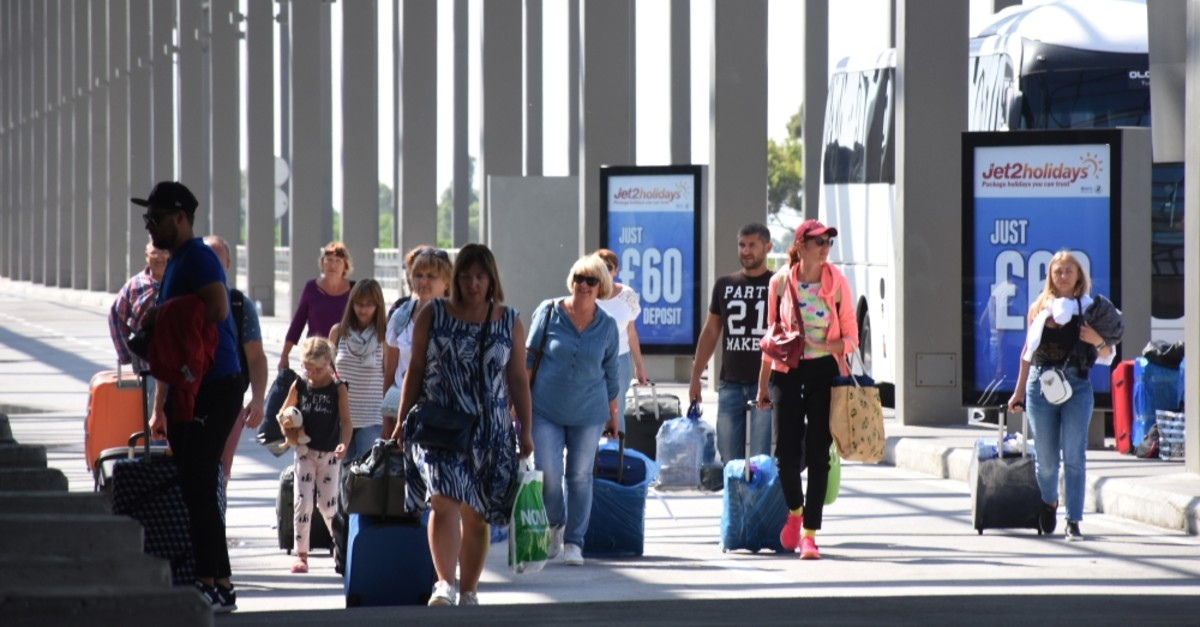 British tourists arrive at Dalaman Airport in the southwestern province of Muu011fla, Sept. 25, 2019.