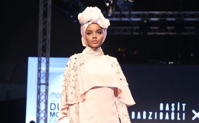 Supermodel  Halima Aden walks on the runway at Turkish designer Raşit Bağzıbağlı's show at Modest Fashion Week in Dubai last year.
