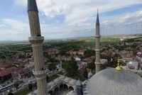 In preparation for Ramadan, minarets of the Selimiye Mosque in Edirne have been adorned with