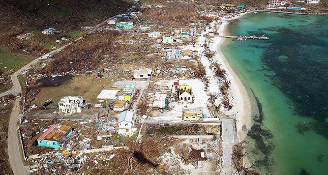 A handout picture released by the British Ministry of Defence (MOD) on September 12, 2017 shows the devastation of the island of Jost Van Dyke in the British Virgin Islands on September 11, 2017 following the passing of Hurricane Irma. (AFP Photo)