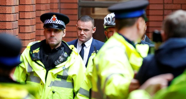 Wayne Rooney, Everton striker and former England captain arrives at Stockport Magistrates court, Stockport, Britain, Sept. 18, 2017. (Reuters Photo)