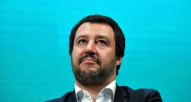 Italy's Interior Minister and deputy PM Matteo Salvini attends a meeting with the Italian Confesercenti ( Association of commercial businesses ) on June 13, 2018 in Rome. (AFP Photo)