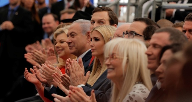 In this May 14, 2018 file photo, Israeli PM Benjamin Netanyahu, his wife Sara, Senior White House Advisor Jared Kushner, his wife and US President's daughter Ivanka Trump, and Treasury Secretary Steve Mnuchin, attend the opening ceremony. (AP Photo)