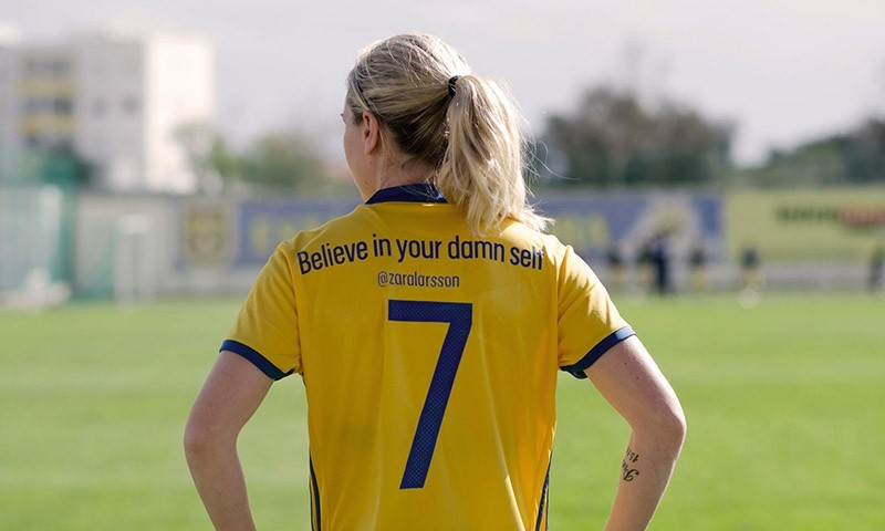 The no7 is worn by Lisa Dahlkvist and says u2018Believe in your damn selfu2019, a tweet by the Swedish singer Zara Larsson. (Photo courtesy of Adidas)