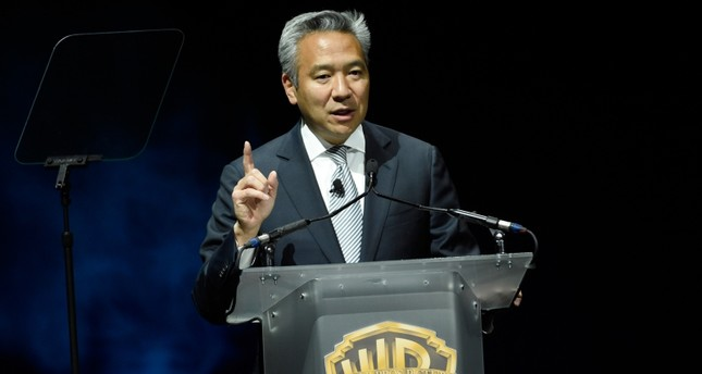 This April 21, 2015 file photo shows Kevin Tsujihara, chairman and CEO of Warner Bros., during the Warner Bros. presentation at CinemaCon 2015 in Las Vegas. AP Photo