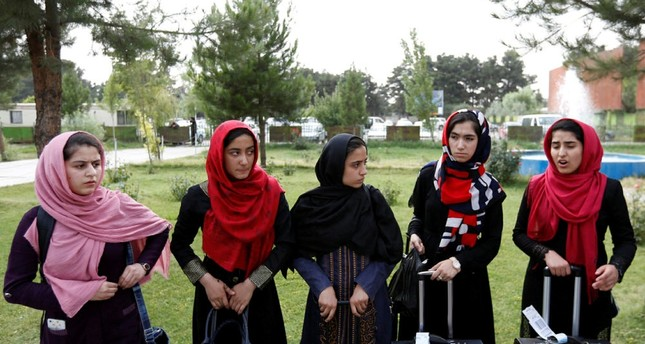 Members of Afghan robotics girls team arrive to receive their visas from the U.S. embassy in Kabul, Afghanistan July 13, 2017. (REUTERS Photo)