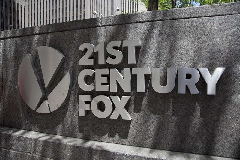 This June 14, 2018, file photo shows the 21st Century Fox logo outside its New York office. (AP Photo)