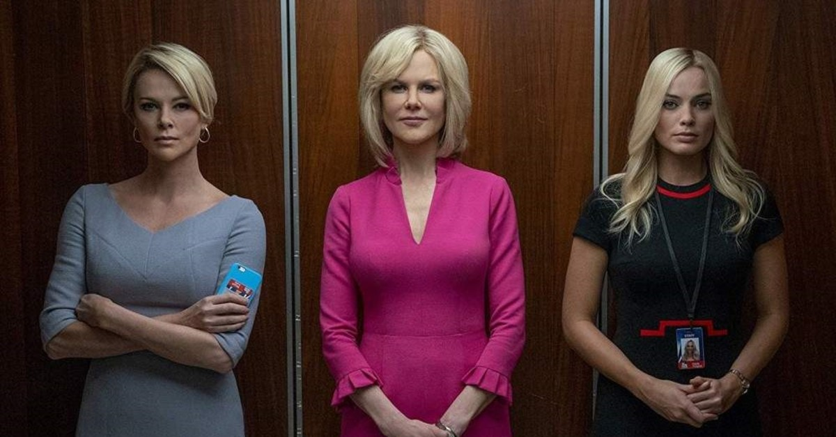 ,Bombshell, features Charlize Theron (R), Nicole Kidman (M) and Margot Robbie.