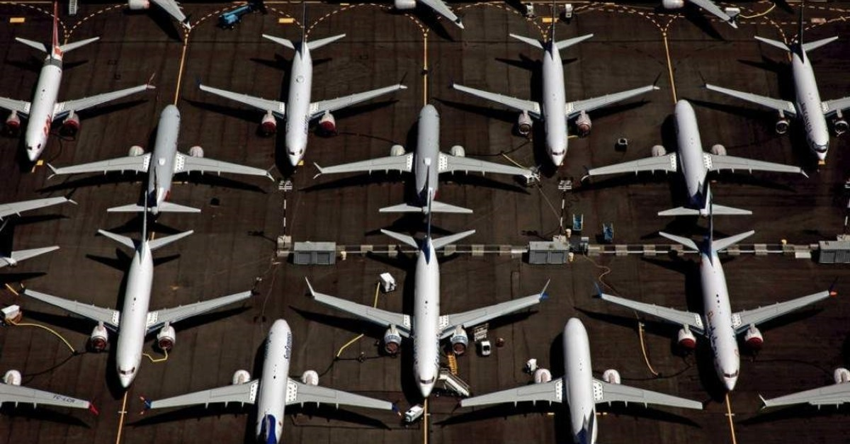 An aerial view of Boeing 737 Max 8 aircraft sitting parked at Boeing Field in Seattle, Washington, USA, 21 July 2019 (reissued 10 January 2020). (EPA Photo)