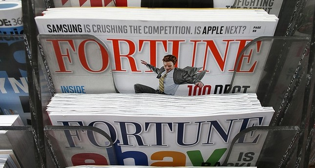 In this file photo taken on February 13, 2013, issues of Fortune magazine are for sale at a newsstand in Manhattan on Feb. 13, 2013 in New York City. (AFP Photo)