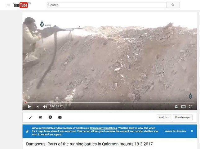 In this screen shot provided by the Shaam News Network on Sept. 12, 2017 shows a message from YouTube to the group that an uploaded video needs to be reviewed because it violates the company's community guidelines. (AP Image)