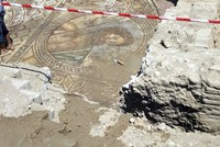 Ancient mosaic depicts Poseidon hailing bath-goers