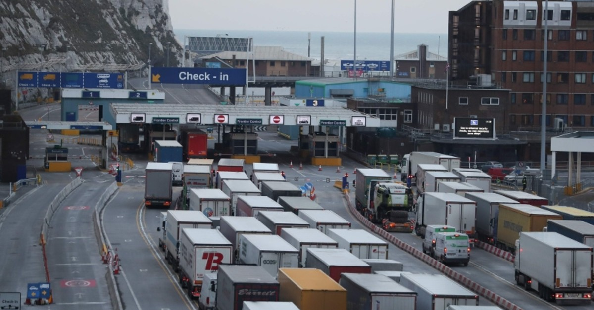 In this file photo taken on March 19, 2018 Lorries queue up at the port of Dover on the south coast of England. (AFP Photo)