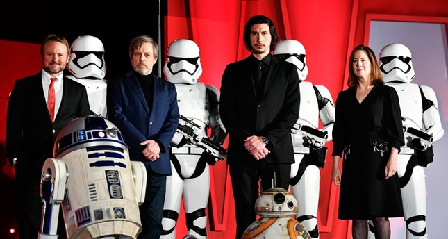 US actor and cast members Mark Hamill 2-L and Adam Driver 2-R poses on stage with US film director Rian Johnson L and US film producer Kathleen Kennedy during the red carpet event of the upcoming movie 'Star Wars: The Last Jedi' EPA Photo