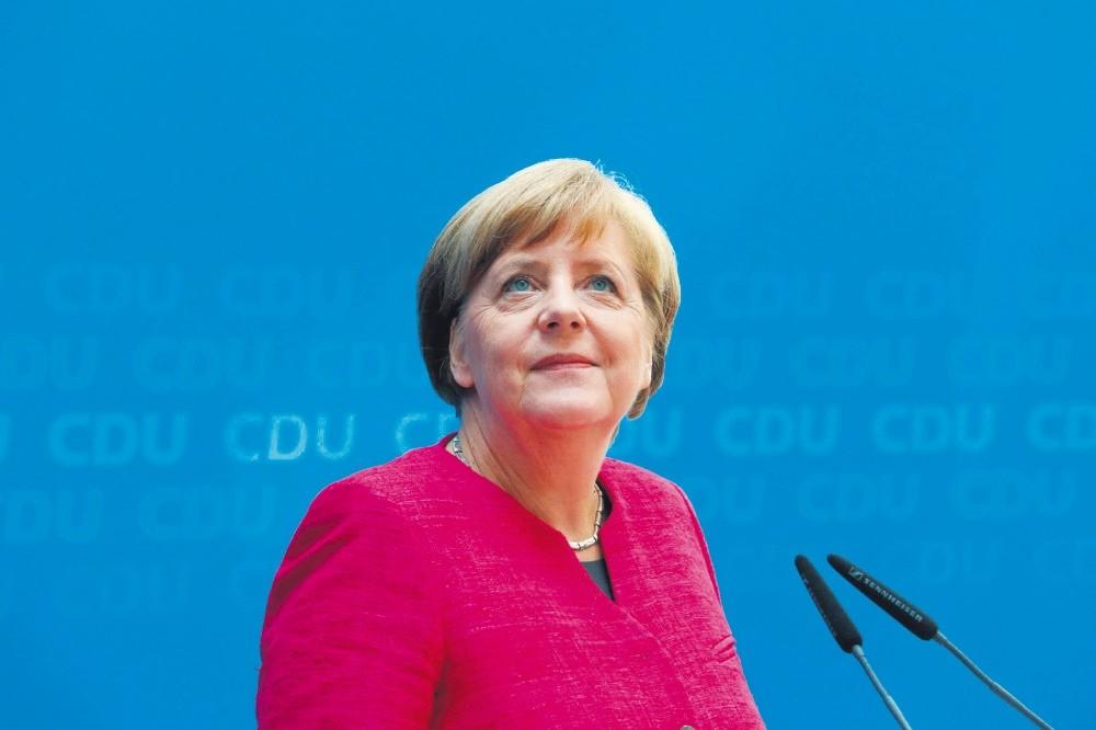 German Chancellor Angela Merkel at a press conference in Berlin, Germany, May 15.