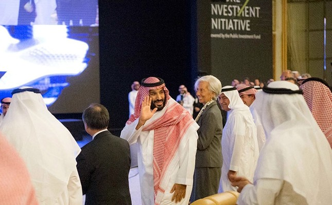 In this photo released by Saudi Press Agency, Crown Prince Mohammed bin Salman (center left) and IMF Managing Director Christine Lagarde (R) attend the opening ceremony of Future Investment Initiative Conference in Riyadh, Oct. 24, 2017. (AP Photo)