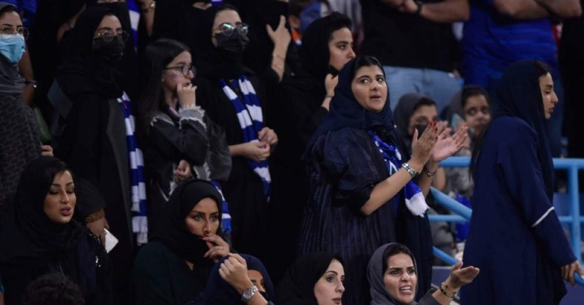 Al Hilal fans attend the first leg of the AFC Champions League final soccer match between Al Hilal and Urawa Red at King Fahd stadium in Riyadh, Saudi Arabia, Saturday, Nov. 9, 2019. (AP Photo)